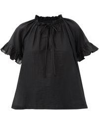 Loup Charmant Marina Ruffled Organic-cotton Top - Black