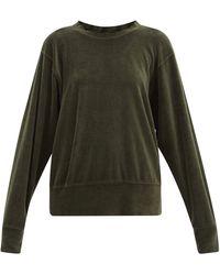 Les Tien ブラッシュドバック ベロアスウェットシャツ - グリーン