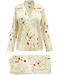 BERNADETTE Louis Floral-print Silk-blend Satin Pyjamas - White