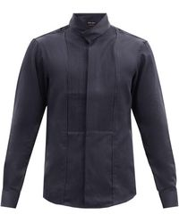 Giorgio Armani Pintucked-plastron Cotton-blend Poplin Shirt - Blue