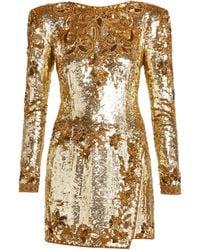 Dundas Sequinned-silk Mini Dress - Metallic