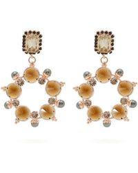 Erdem - Crystal And Faux-pearl Hoop-drop Earrings - Lyst