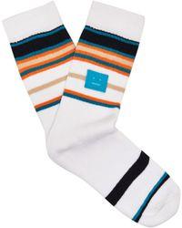 Acne Studios - Striped Stretch Cotton Socks - Lyst