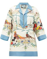 Gucci Mickey Mouse And Animal-print Silk Blouse - Blue