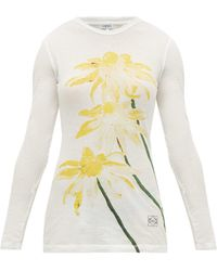 Loewe Floral-print Long-sleeved Cotton-jersey T-shirt - Multicolour