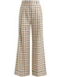 See By Chloé Checked Twill Wide Leg Pants - Natural