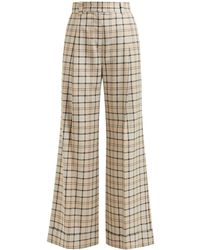 See By Chloé Checked Twill Wide-leg Pants - Natural