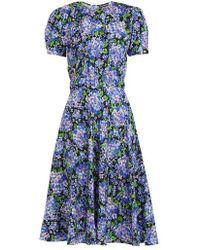 Vika Gazinskaya Floral-print Puff-sleeves Silk Dress - Blue