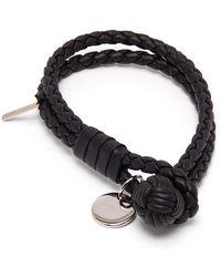 Bottega Veneta Double Wrap Leather Bracelet - Black