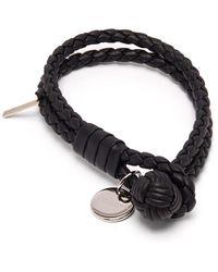 Bottega Veneta Double-wrap Leather Bracelet - Black