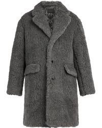 Prada Faux-shearling Coat - Grey