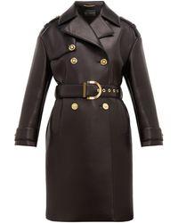 Versace Leather-coated Neoprene Padded Trench Coat - Black