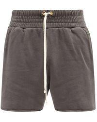 Les Tien Yacht Brushed-back Cotton Shorts - Grey