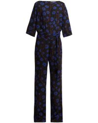 Diane von Furstenberg Gwynne Dragon Berry Print Jumpsuit - Black