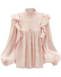 Aje. Sahara Ruffled Linen-blend Blouse - Pink