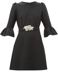 Andrew Gn クリスタル&パールベルト クレープドレス - ブラック