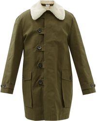 Loewe フェイクシアリングカラー キャンバスコート - グリーン