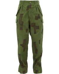 MYAR Camouflage Print Cotton Pants - Green
