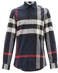 Burberry サマートン チェック ストレッチコットンシャツ - ブルー