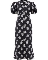 Erdem アントネッタ フローラルフィルクーペ ジャカードドレス - ブラック