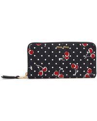 Miu Miu   Cherry-print Denim Wallet   Lyst
