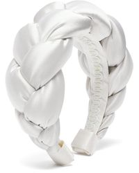 Marta Ferri Braided Silk-satin Headband - White