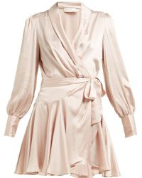 Zimmermann Silk Satin Wrap Dress - Pink