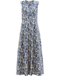 Marta Ferri Arizona Tiger-print Cotton-blend Poplin Dress - Blue