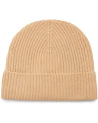 Johnstons of Elgin Ribbed Cashmere Beanie Hat - Natural