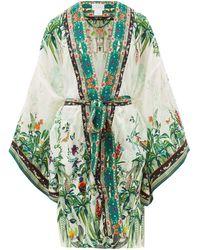 Camilla Forest-print Kimono-style Silk Robe - Green