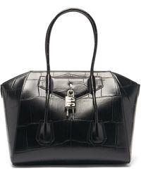 Givenchy アンティゴナ ロック ミディアム クロコダイルパターンレザーバッグ - ブラック