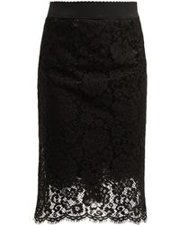 Dolce & Gabbana - Floral Lace Pencil Skirt - Lyst