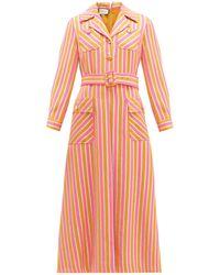 Gucci Metallic-stripe Tailored Wool-blend Dress - Orange