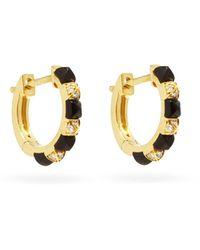 Raphaele Canot Diamond, Onyx & 18kt Gold Hoop Earrings - Metallic