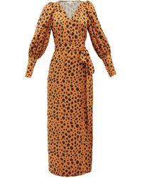 RHODE Aspen Cheetah-print Satin Wrap Dress - Multicolour
