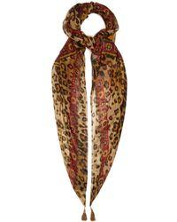 Etro Tassel Embellished Printed Silk Chiffon Scarf - Brown
