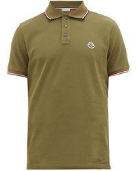 Moncler Tipped-trim Logo-plaque Cotton-piqué Polo Shirt - Green