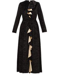 Loretta Caponi ベティ ラッフル デヴォレベルベットドレス - ブラック