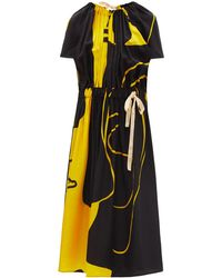 Colville Mccardell Abstract-print Satin Midi Dress - Multicolour
