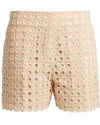 Chloé - Embroidered Eyelet Cotton-blend Shorts - Lyst