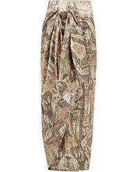 Edward Crutchley - Raja-print Lamé Wrap Skirt - Lyst