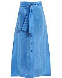 Diane von Furstenberg - Mid-rise Striped Linen Skirt - Lyst