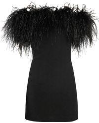 Saint Laurent - Robe à épaules dénudées bordée de plumes - Lyst