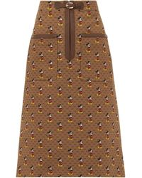 Gucci Mickey Mouse Twill Pencil Skirt - Brown
