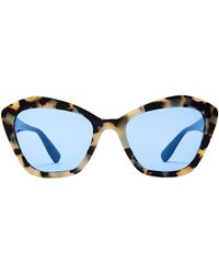 6d2e24301d55 Lyst - Miu Miu Crystal-embellished Cat-eye Acetate Sunglasses