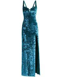 Galvan London Solstice Hammered Velvet Corset Dress - Blue
