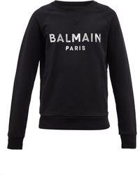 Balmain アプライドロゴ コットンスウェットシャツ - ブラック