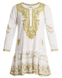 Juliet Dunn - - Embroidered Cotton Dress - Womens - White Multi - Lyst
