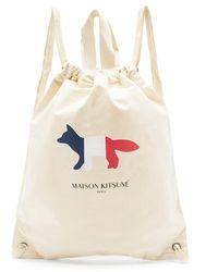 Maison Kitsuné Sac à dos en toile à imprimé Tricolour Fox - Multicolore