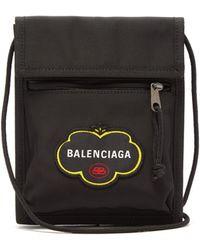 Balenciaga Explorer Logo-embroidered Pouch - Black